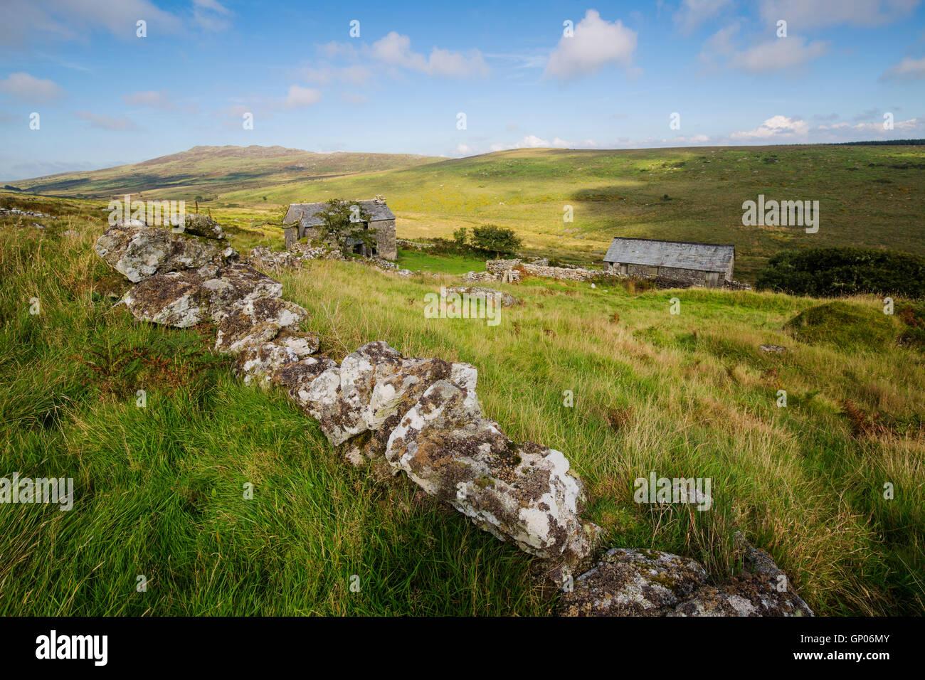 Deserted Garrow Farm high on Bodmin Moor - Stock Image