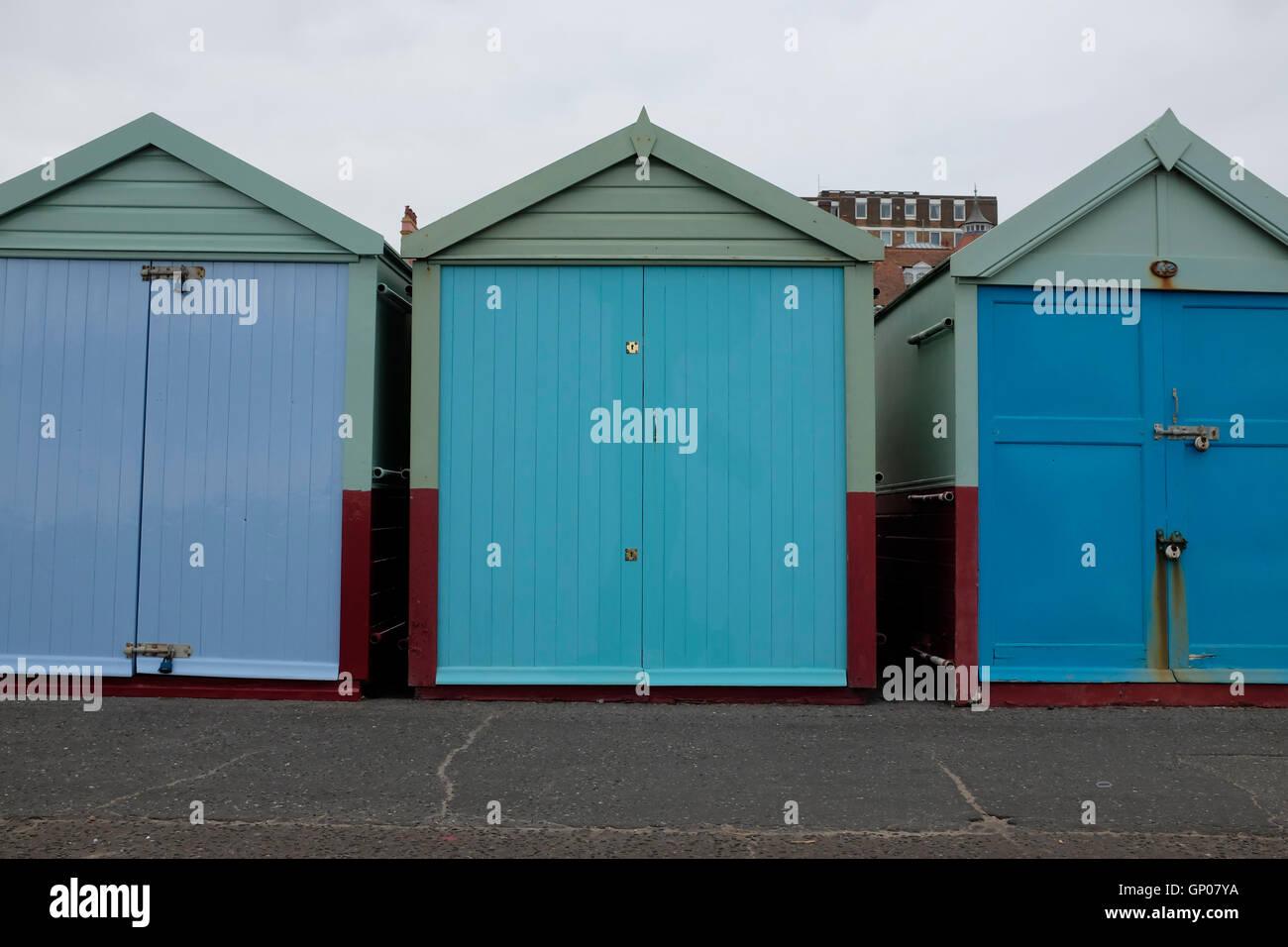 Beach huts in Hove, near Brighton, UK - Stock Image
