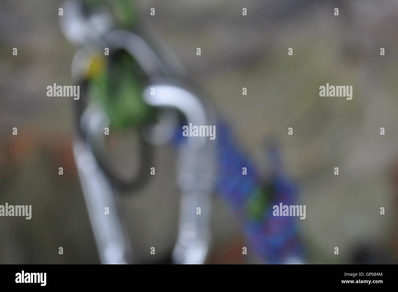 blurred belay set up just like vertigo - Stock Image