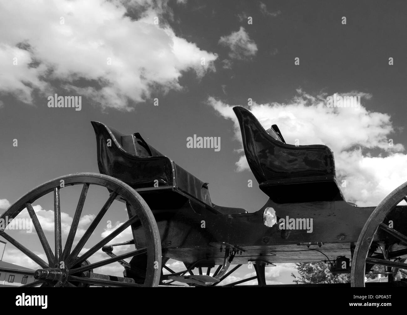 Amish buggy convertible Black and white photograph - Stock Image