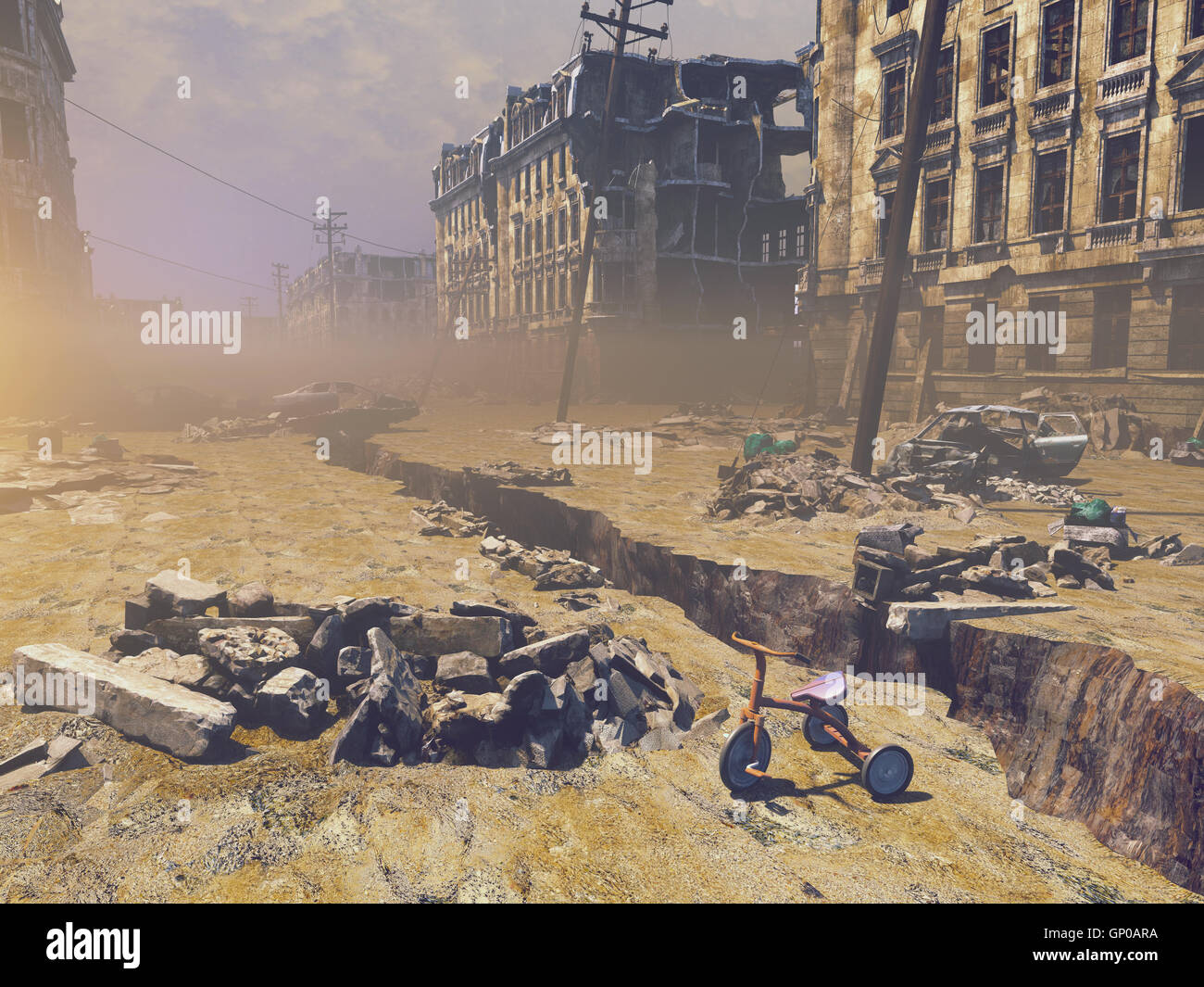 ruins of a city with a crack in the street. 3d illustration concept - Stock Image