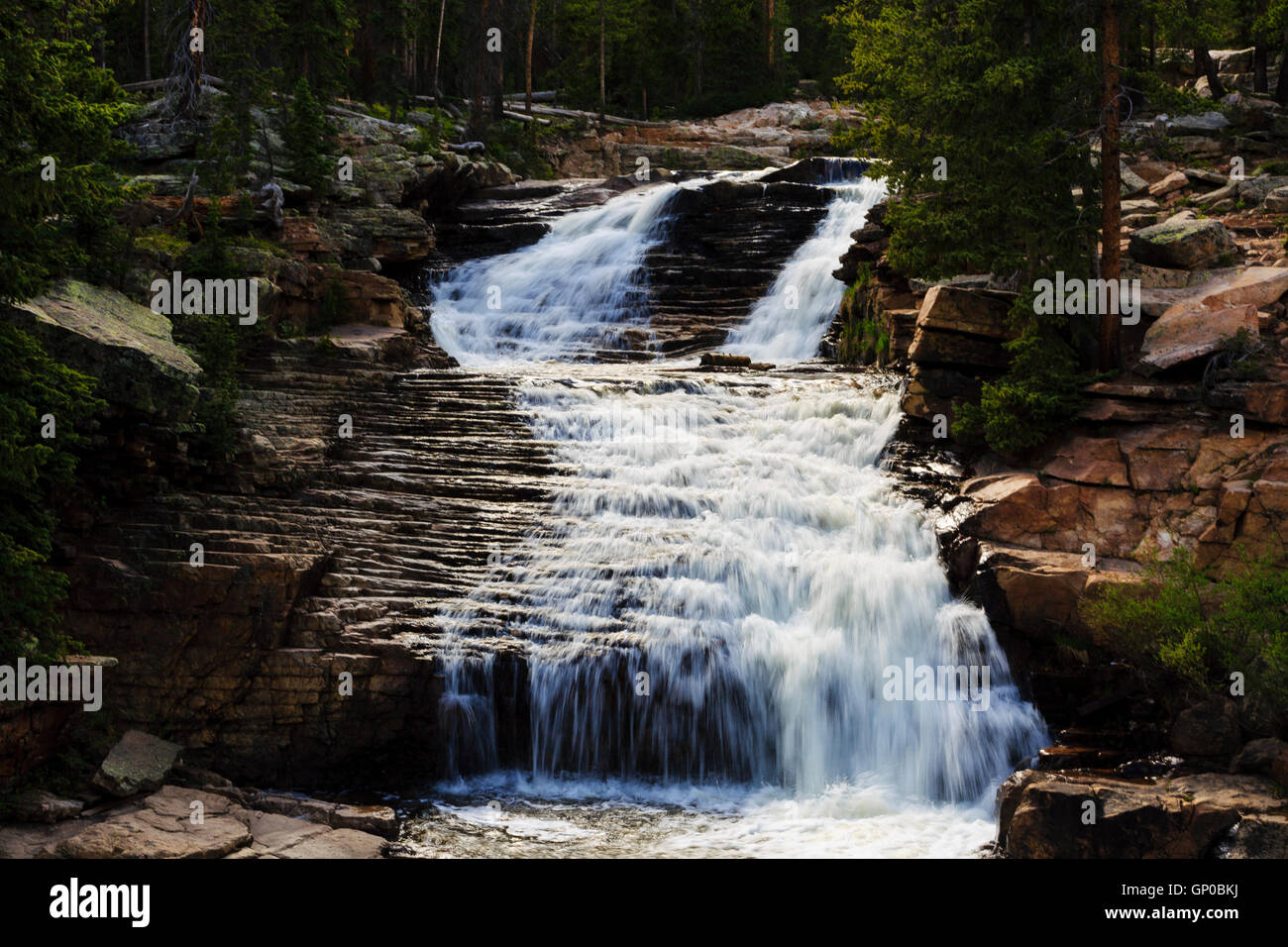 Provo River Falls Overlook, Mirror Lake Scenic Byway, Uinta-Wasatch-Cache National Forest Utah - Stock Image