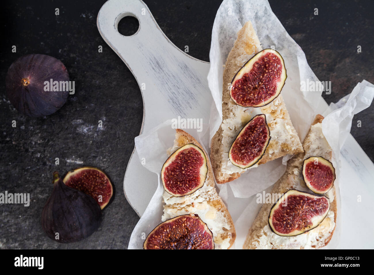 Appetizer with goat cheese and figs - Stock Image