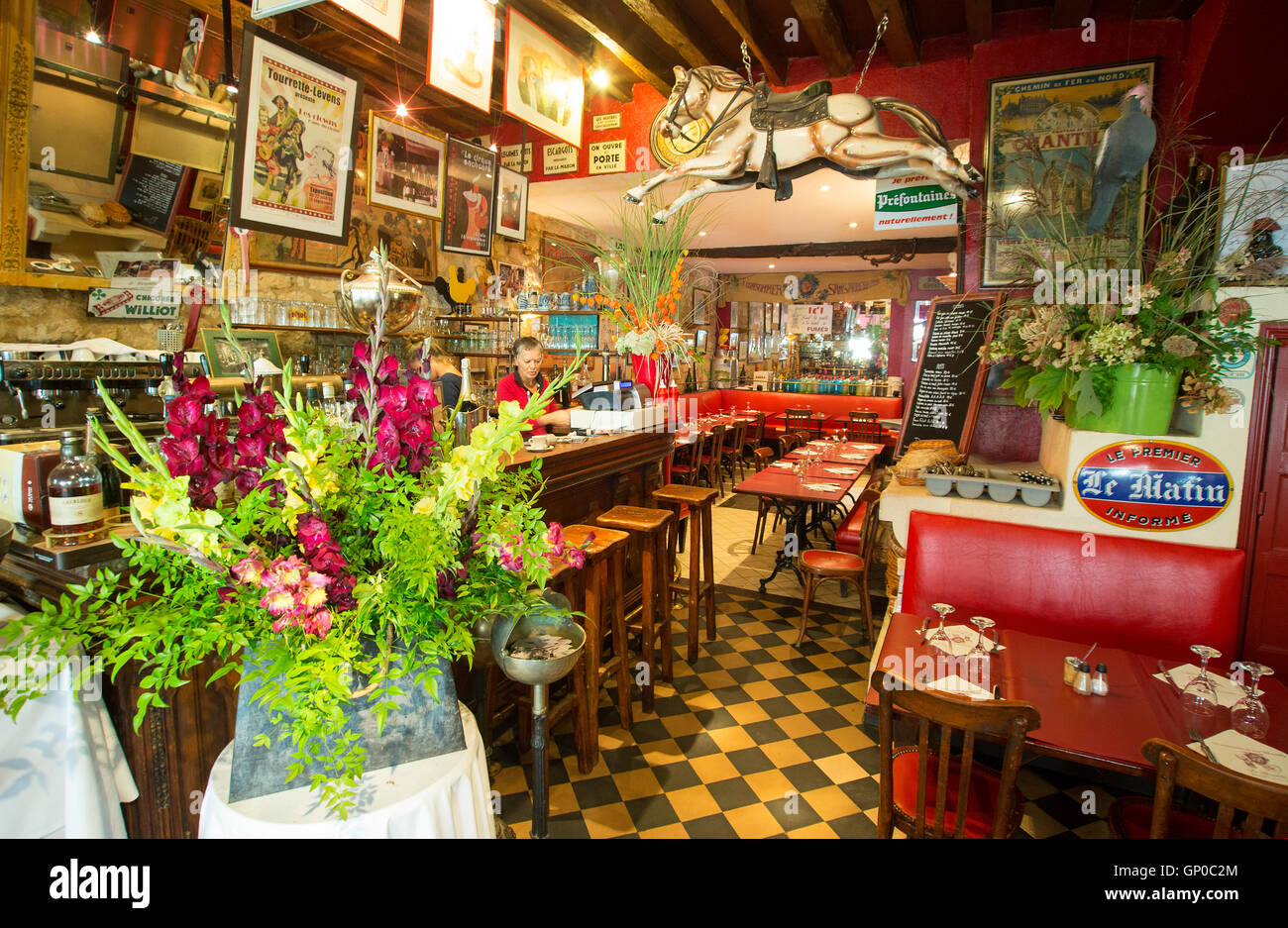 Interior of French brasserie - Stock Image