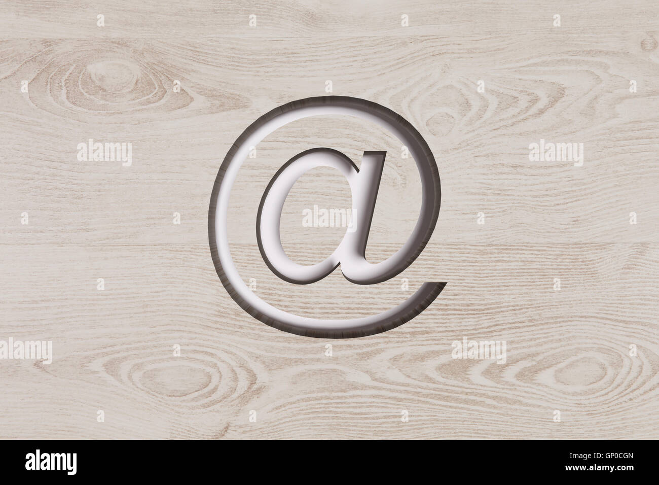 3d Rendering Of At Symbol On Wooden Background Stock Photo