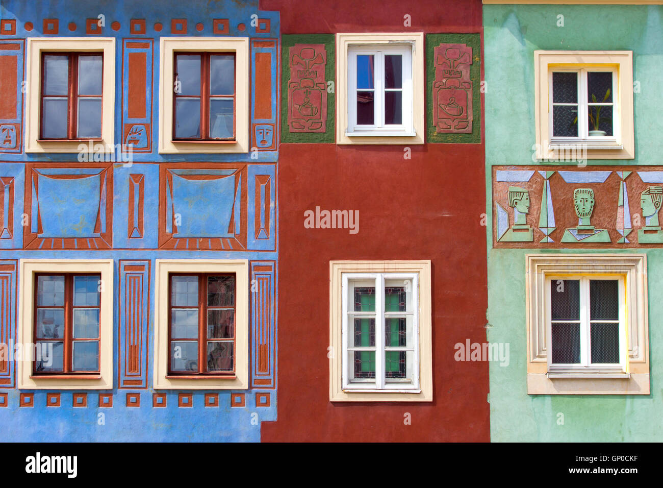 Colorful facades on the central square in Poznan, Poland Stock Photo