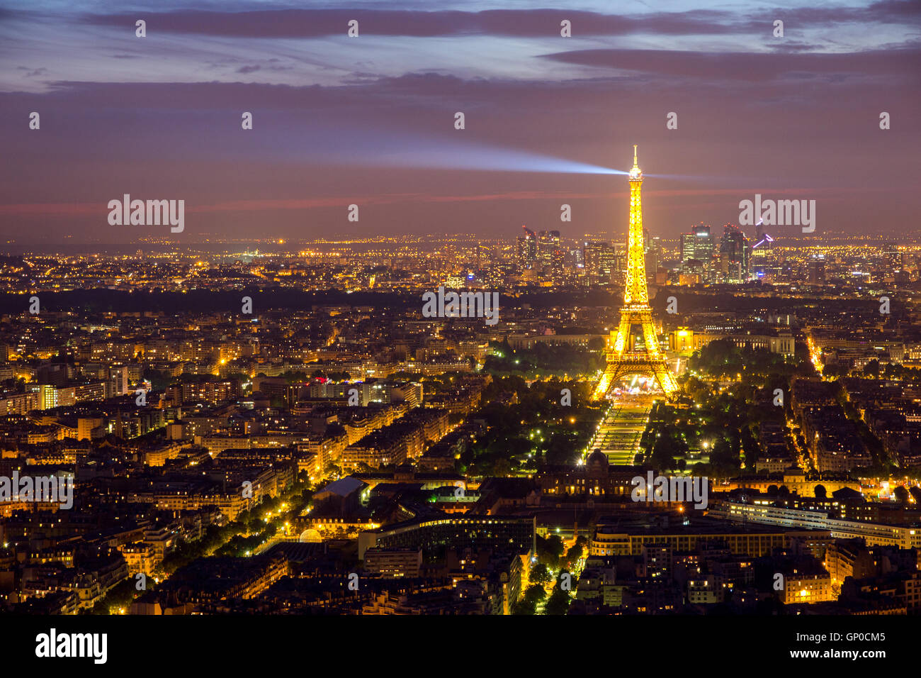 Evening view on Paris and the Eiffel Tower. - Stock Image