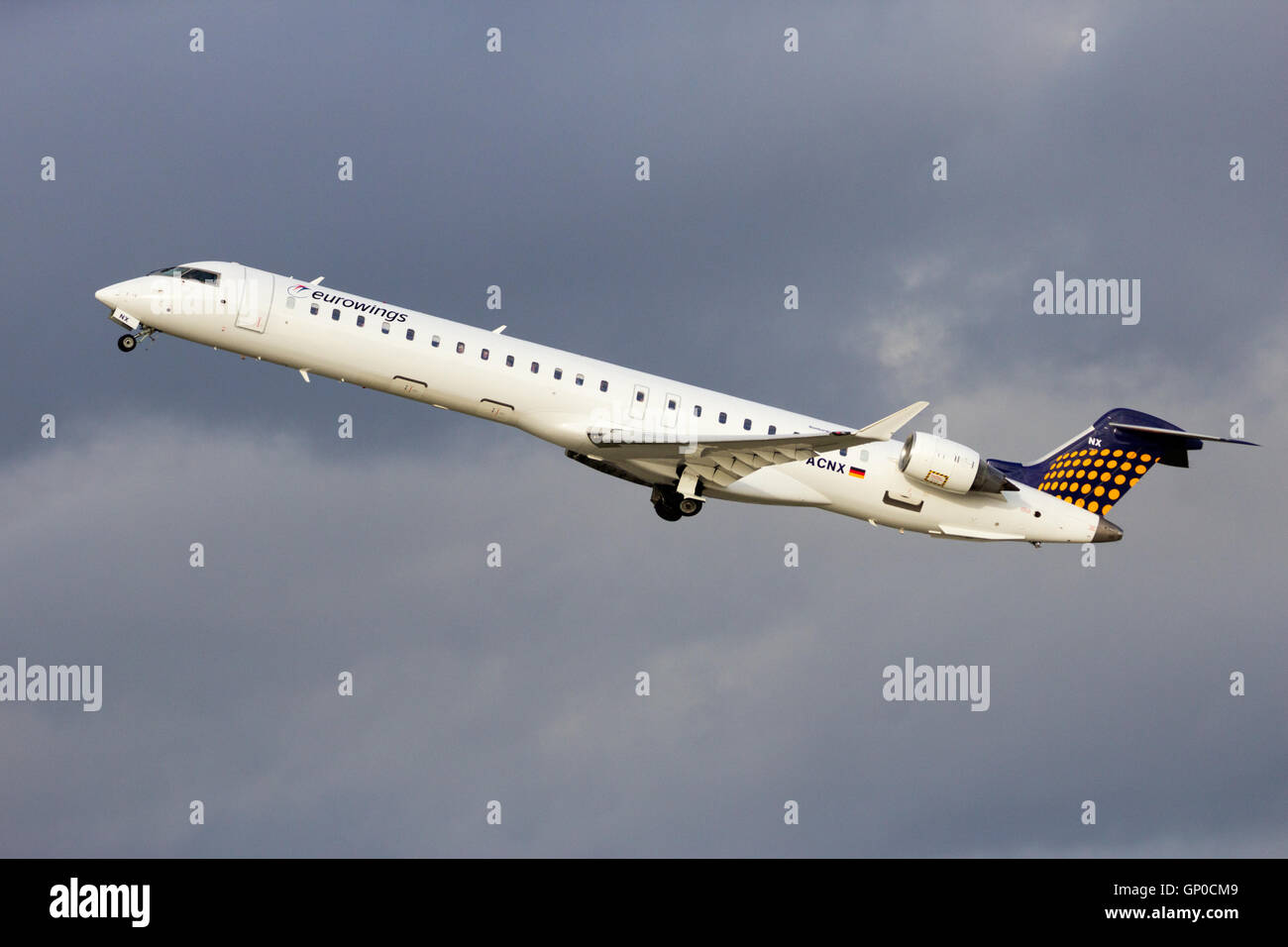 Eurowings Canadair CRJ-900LR take-off from Dusseldorf Airport. - Stock Image