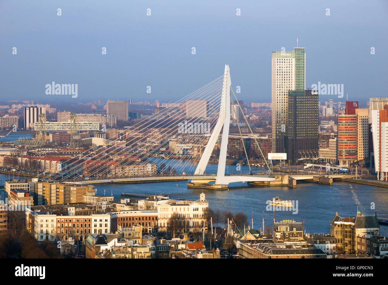 View on the Erasmus bridge and the city center of Rotterdam Stock Photo