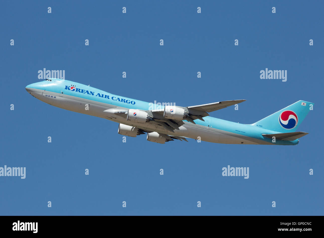Korean Air Cargo Boeing 747 taking off from Zaragoza airport - Stock Image
