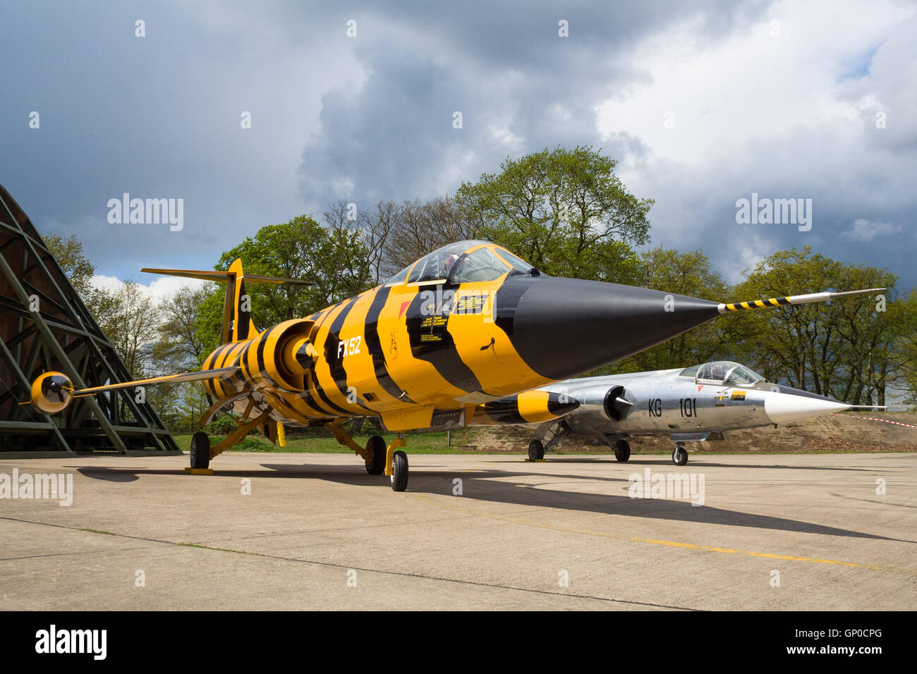 Two F-104 Starfighter on display at the former airbase RAF Laarbruch - Stock Image