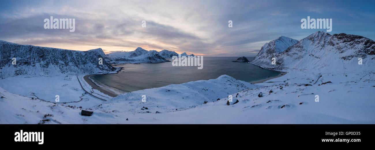 Panoramic view over Vik and Haukland beachs in winter, Vestvågøy, Lofoten Islands, Norway - Stock Image