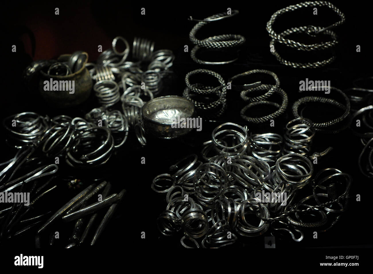 Late Iron Age. Viking Age. 9th century. Objects of Silver. Swedish History Museum. Stockholm. Sweden. - Stock Image