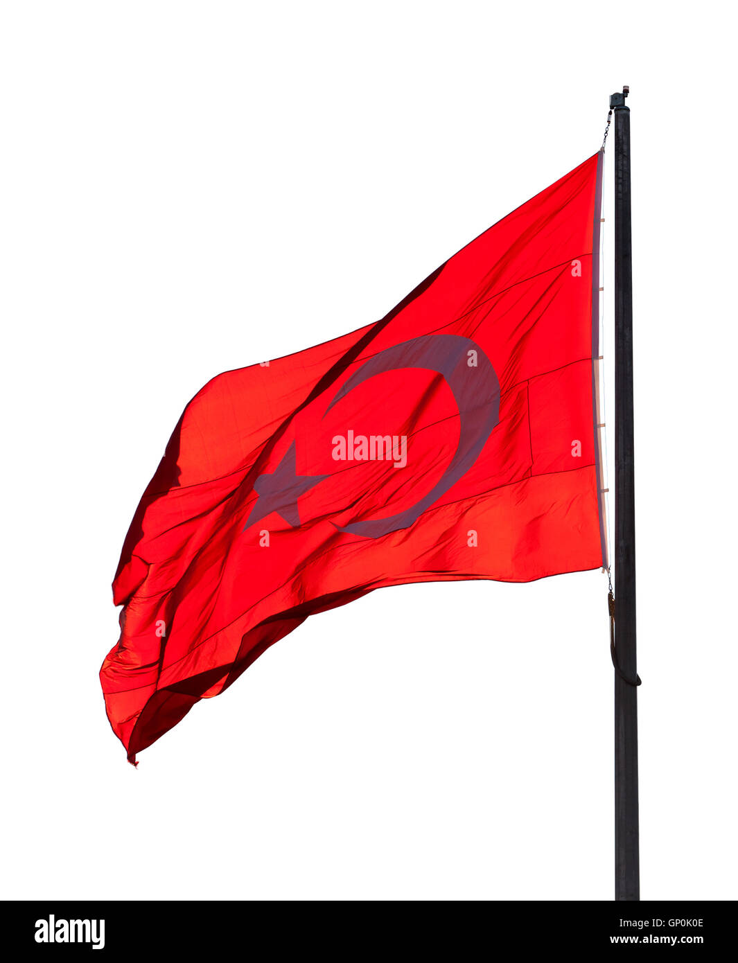 Flag of Turkey waving in wind evening. Isolated on white background. - Stock Image