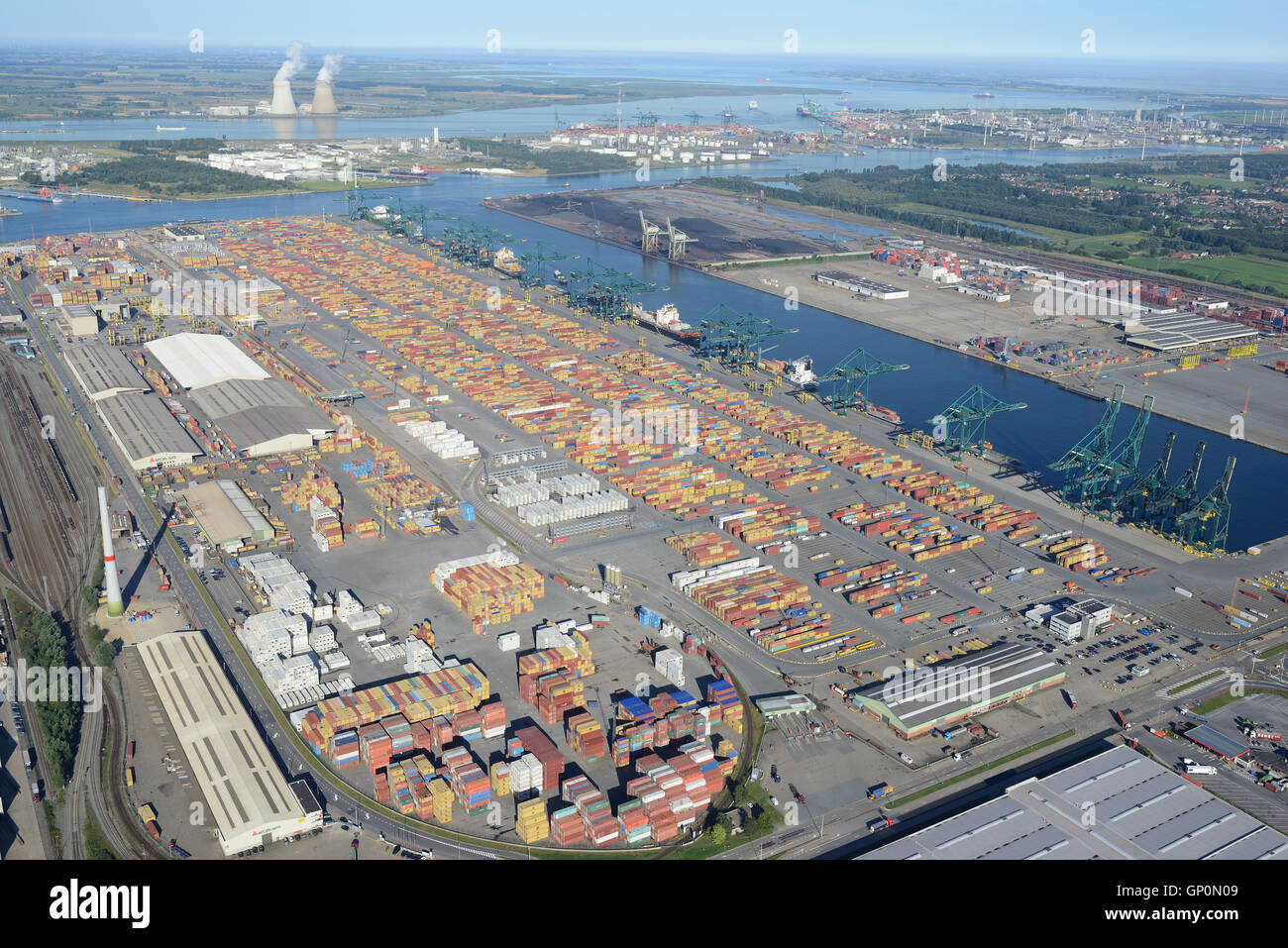 CONTAINERS & CRANES ON DELWAIDE DOCK (aerial view). Delwaidedok, Antwerp Harbor, Belgium. Stock Photo