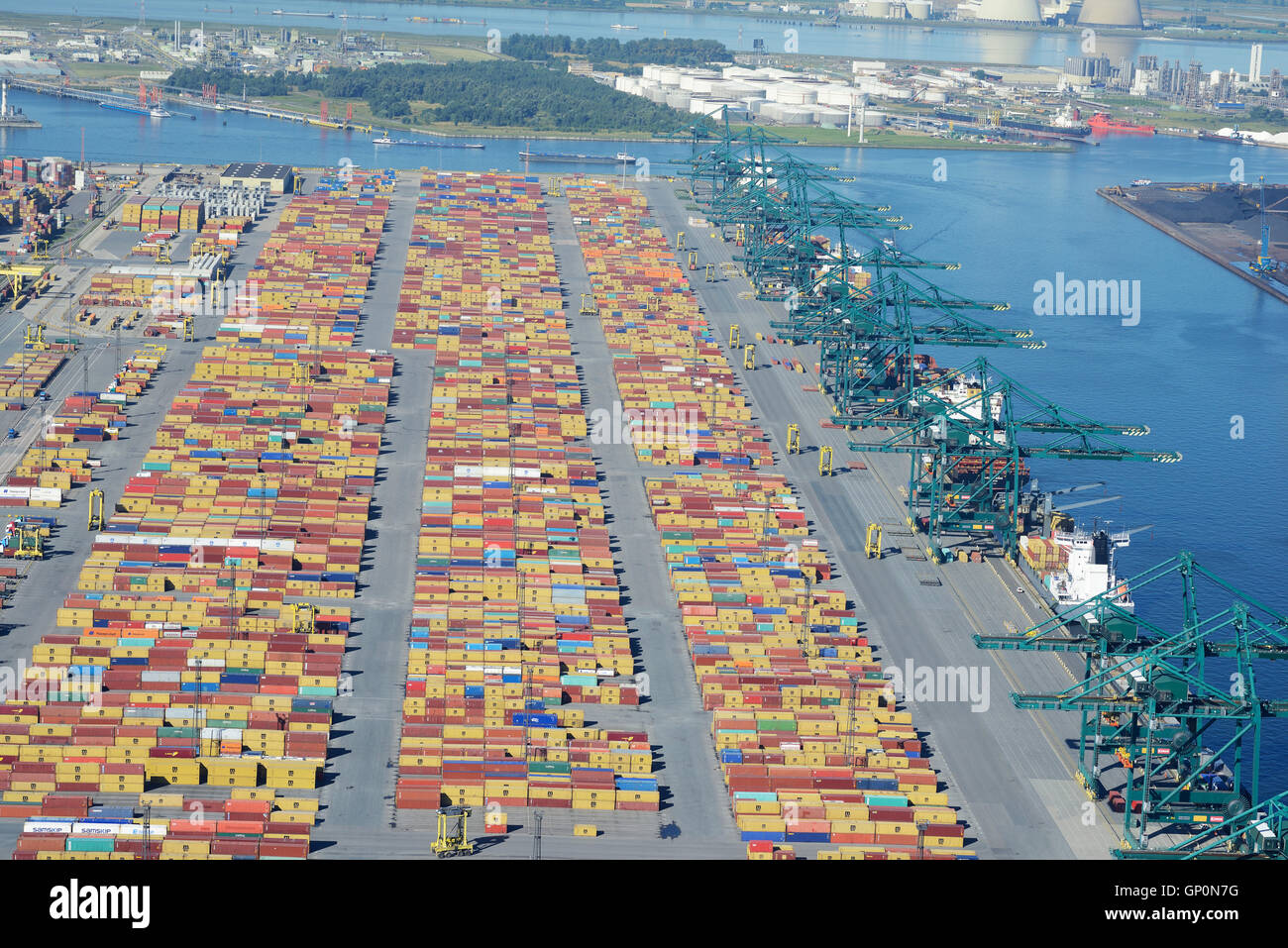 CONTAINERS & CRANES ON DELWAIDE DOCK (aerial view). Delwaidedok, Antwerp Harbor, Belgium. Stock Photo