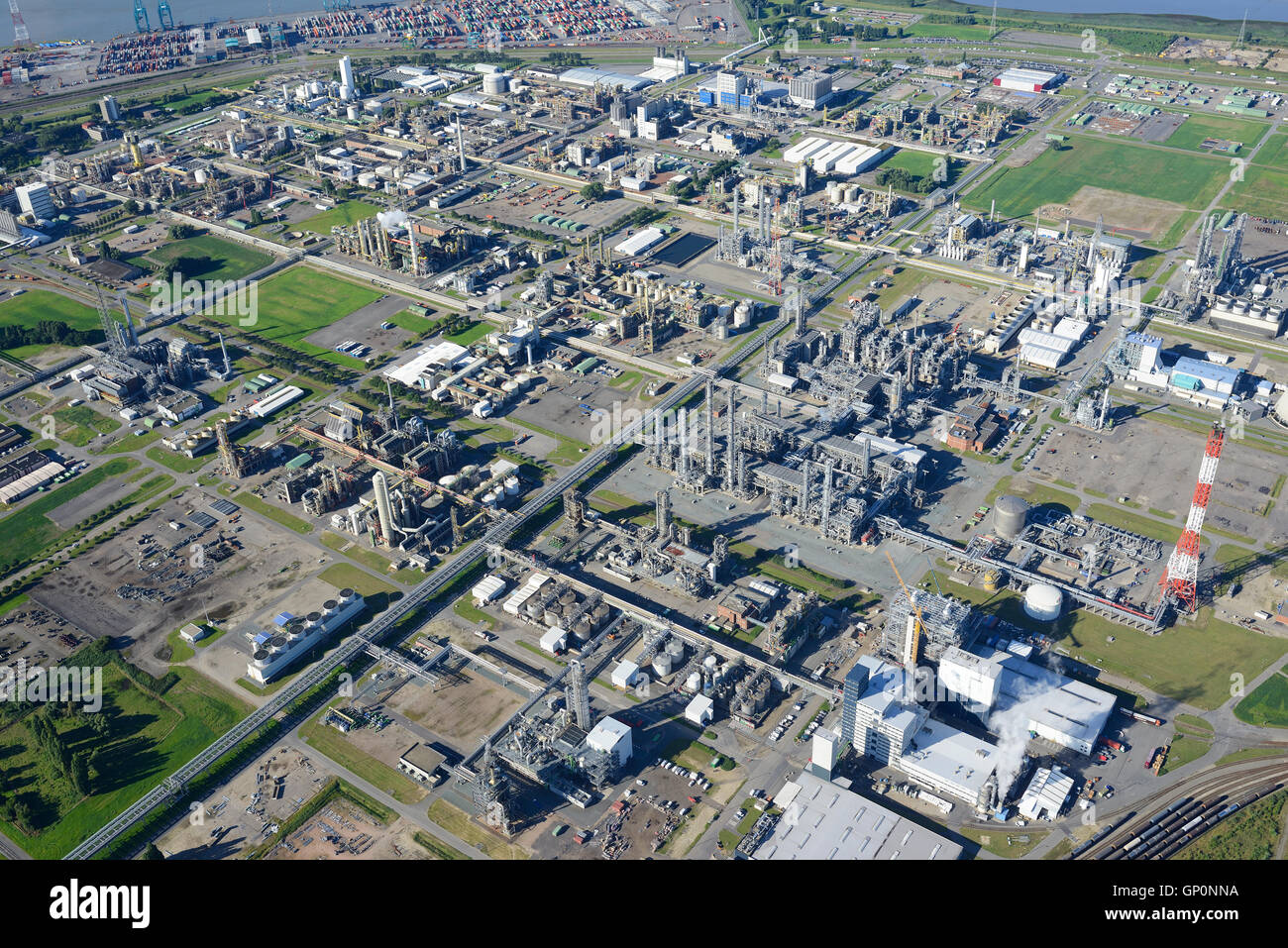 CHEMICAL PRODUCTION SITE OF BASF ANTWERPEN (aerial view). Antwerp Harbor, Belgium. - Stock Image