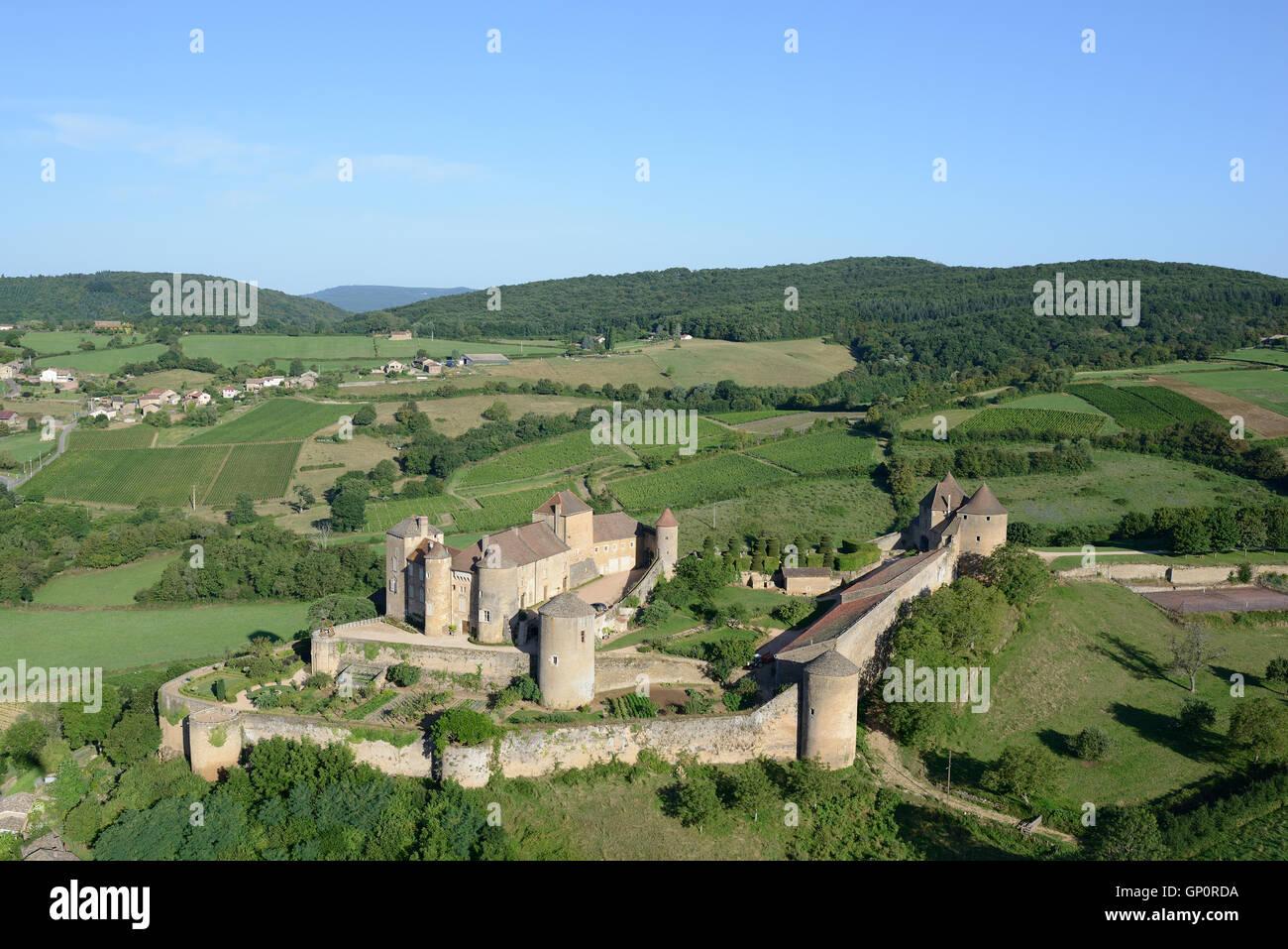 BERZÉ CASTLE (aerial view). Berzé-le-Castel, Saone-et-Loire, Burgundy, France. - Stock Image