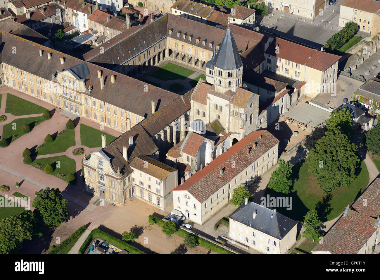 CLUNY ABBEY (aerial view). Saone-et-Loire, Burgundy, France. - Stock Image