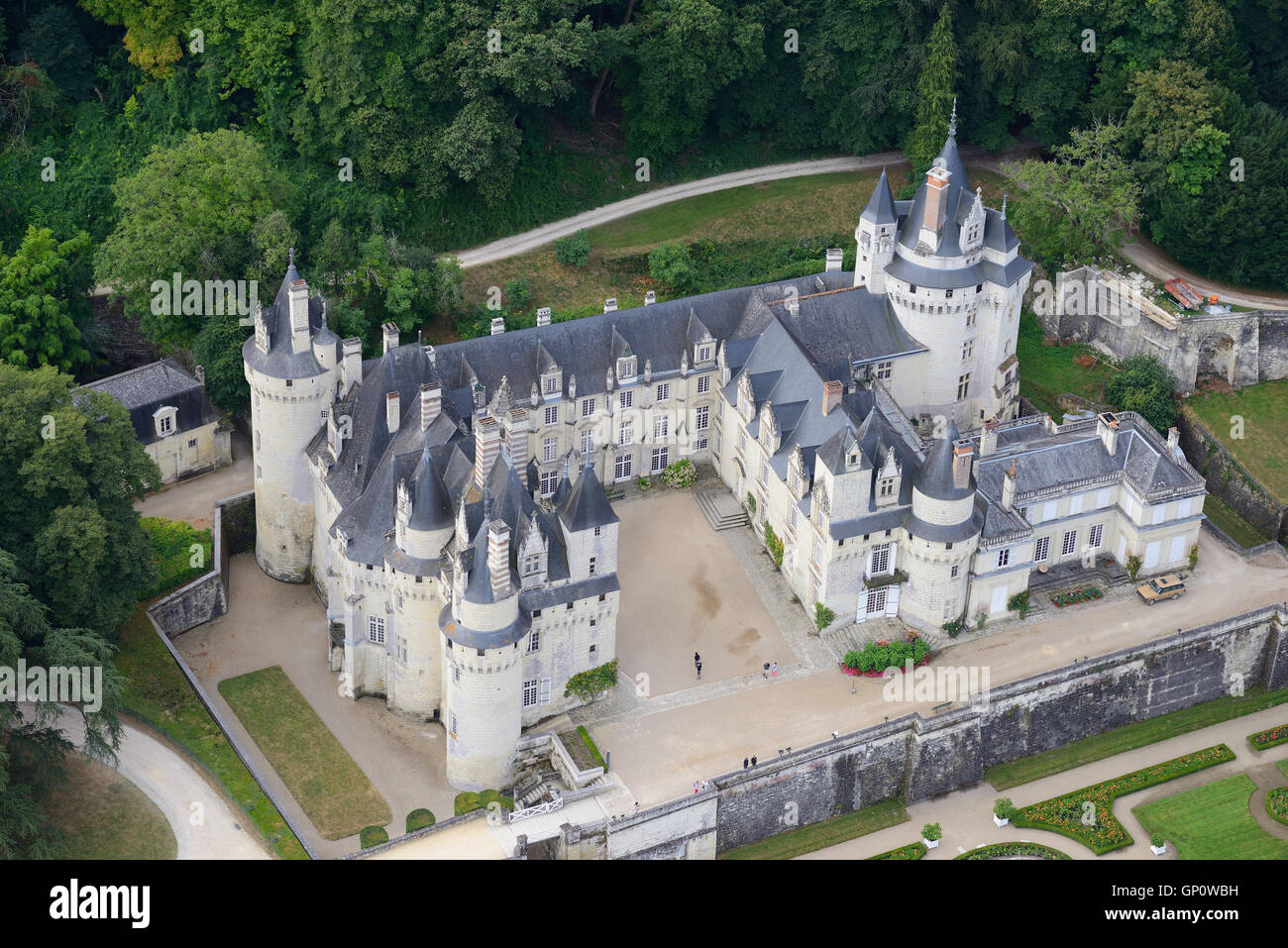 USSÉ CASTLE (aerial view). Centre, France. Stock Photo