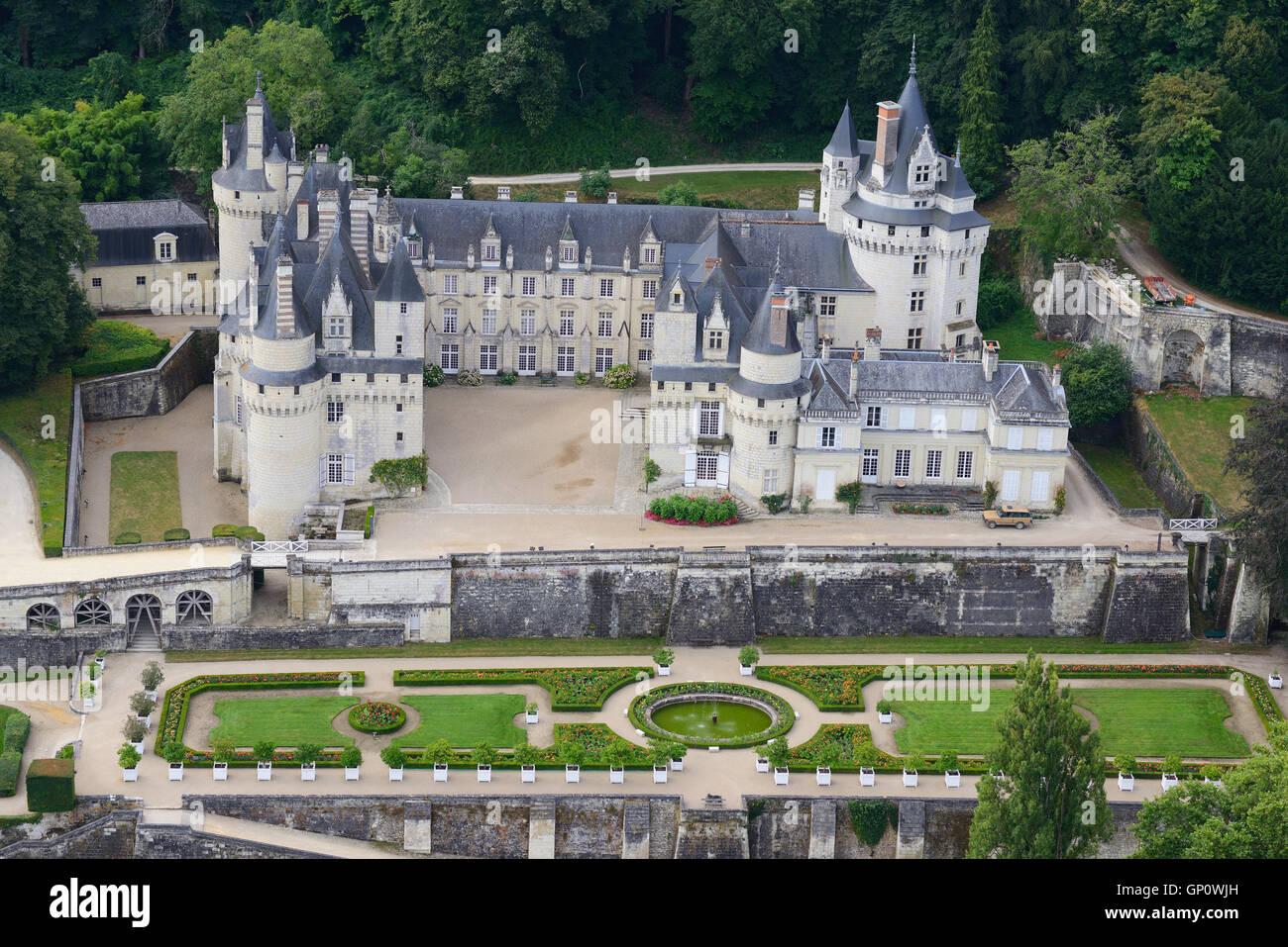 USSÉ CASTLE (aerial view). Centre, France. - Stock Image