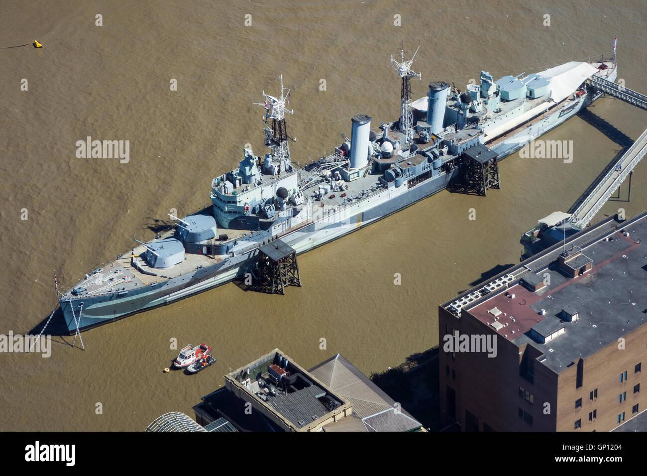 England, London, HMS Belfast & River Thames, aerial - Stock Image