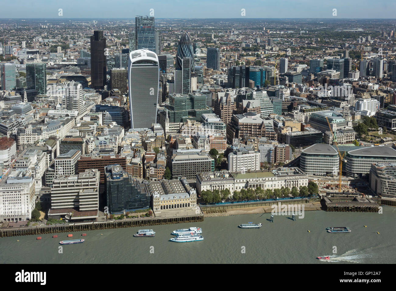 England, London, City of London & River Thames, aerial - Stock Image