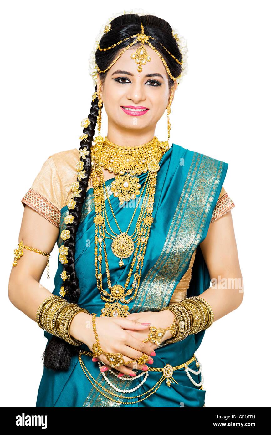 1 Beautiful Adult Bride Tamil Woman standing Stock Photo