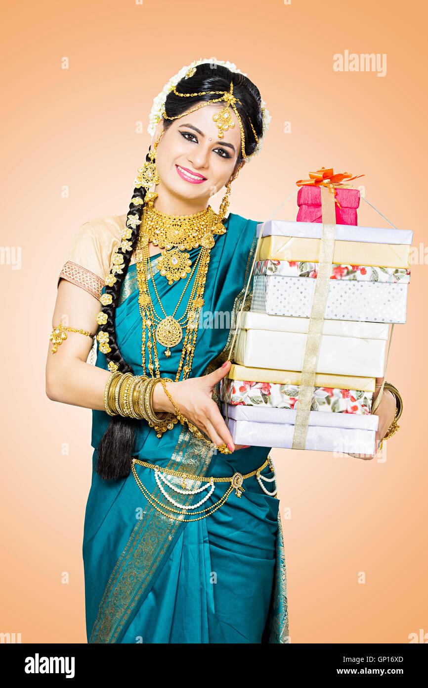 1 Beautiful Adult Bride Tamil Woman Diwali gift showing