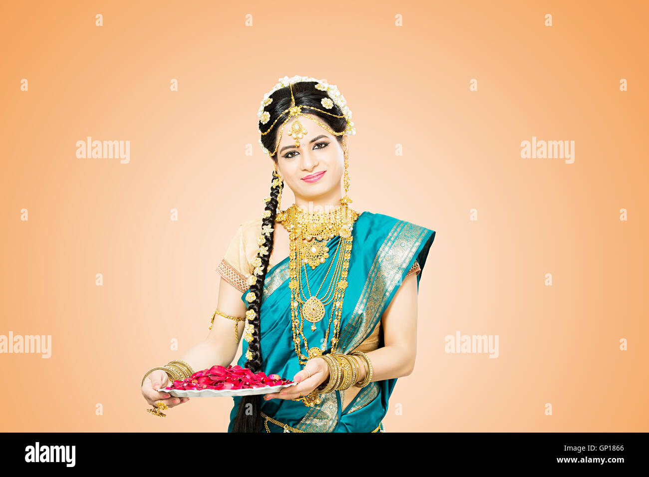 1 Beautiful Adult Bride Tamil Woman diwali Festival standing holding