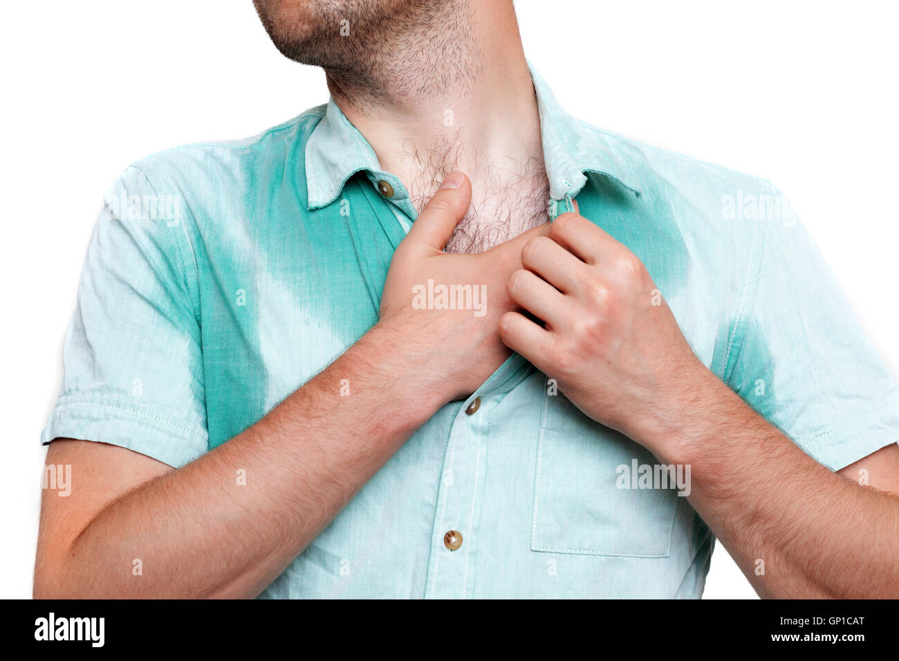 problem with sweating. Wet clothes from the heat - Stock Image