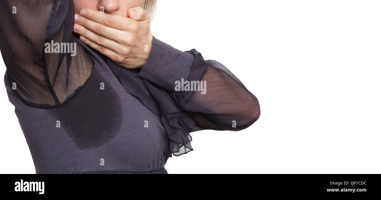 problem with profuse sweating. Wet clothes from the heat - Stock Image