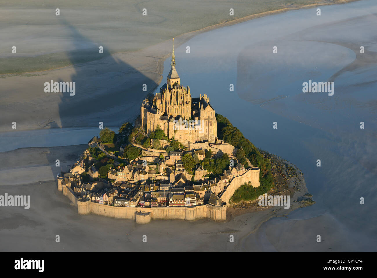 ABBEY ON A GRANITE OUTCROP (aerial view). Mont Saint-Michel, Manche, Normandy, France. Stock Photo