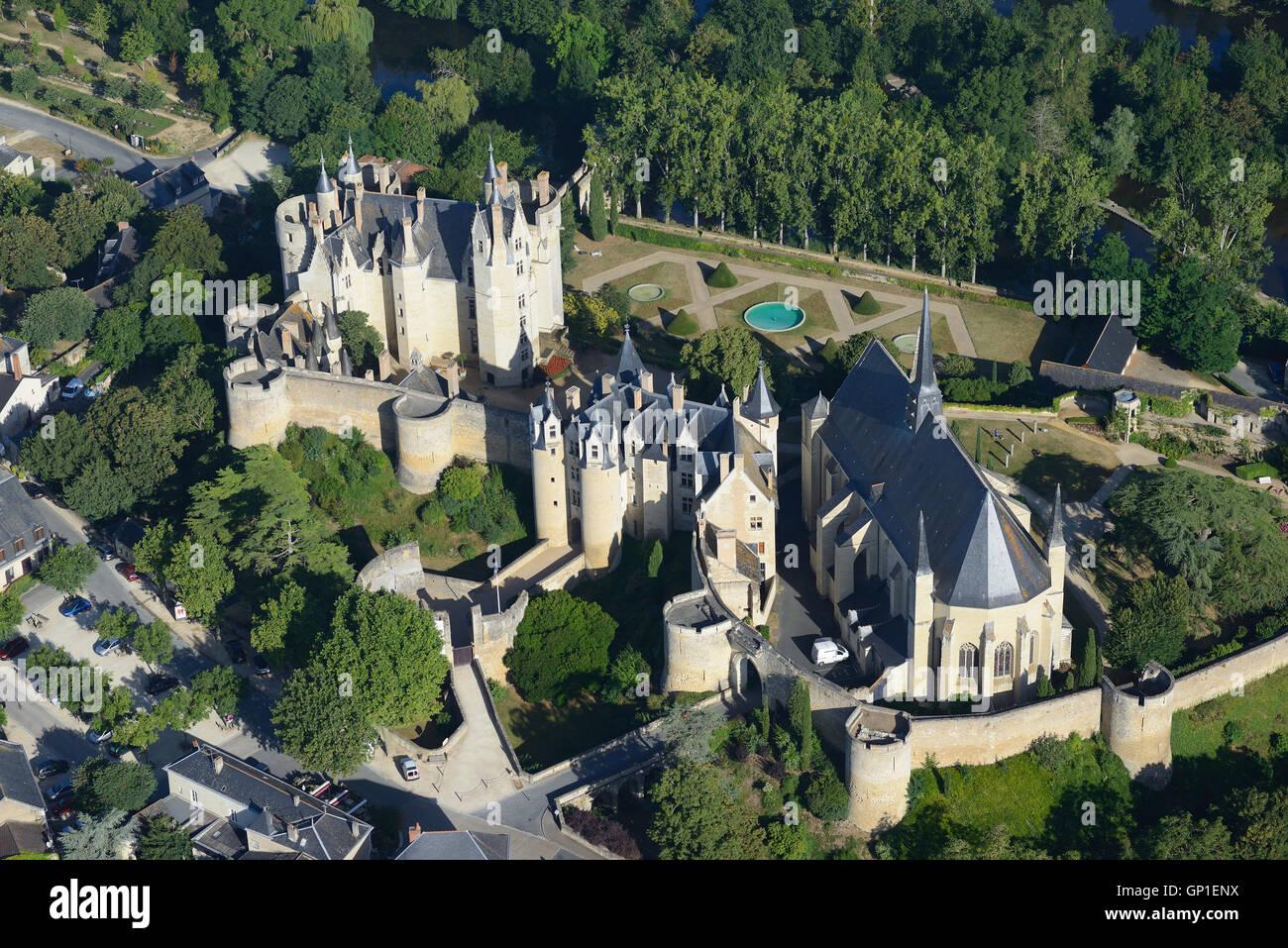 MONTREUIL-BELLAY CASTLE (aerial view). Pays de la Loire, France. - Stock Image