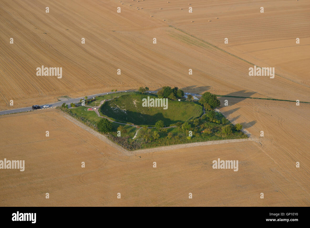 MINE CRATER FROM THE FIRST WORLD WAR (aerial view). Lochnagar Crater, Somme, Picardy, France. - Stock Image