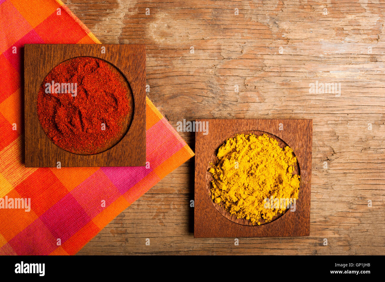 paprika and curry in powder - Stock Image