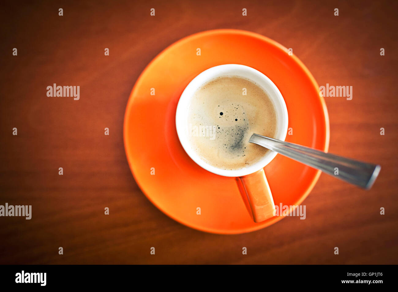espresso coffee, top view - Stock Image