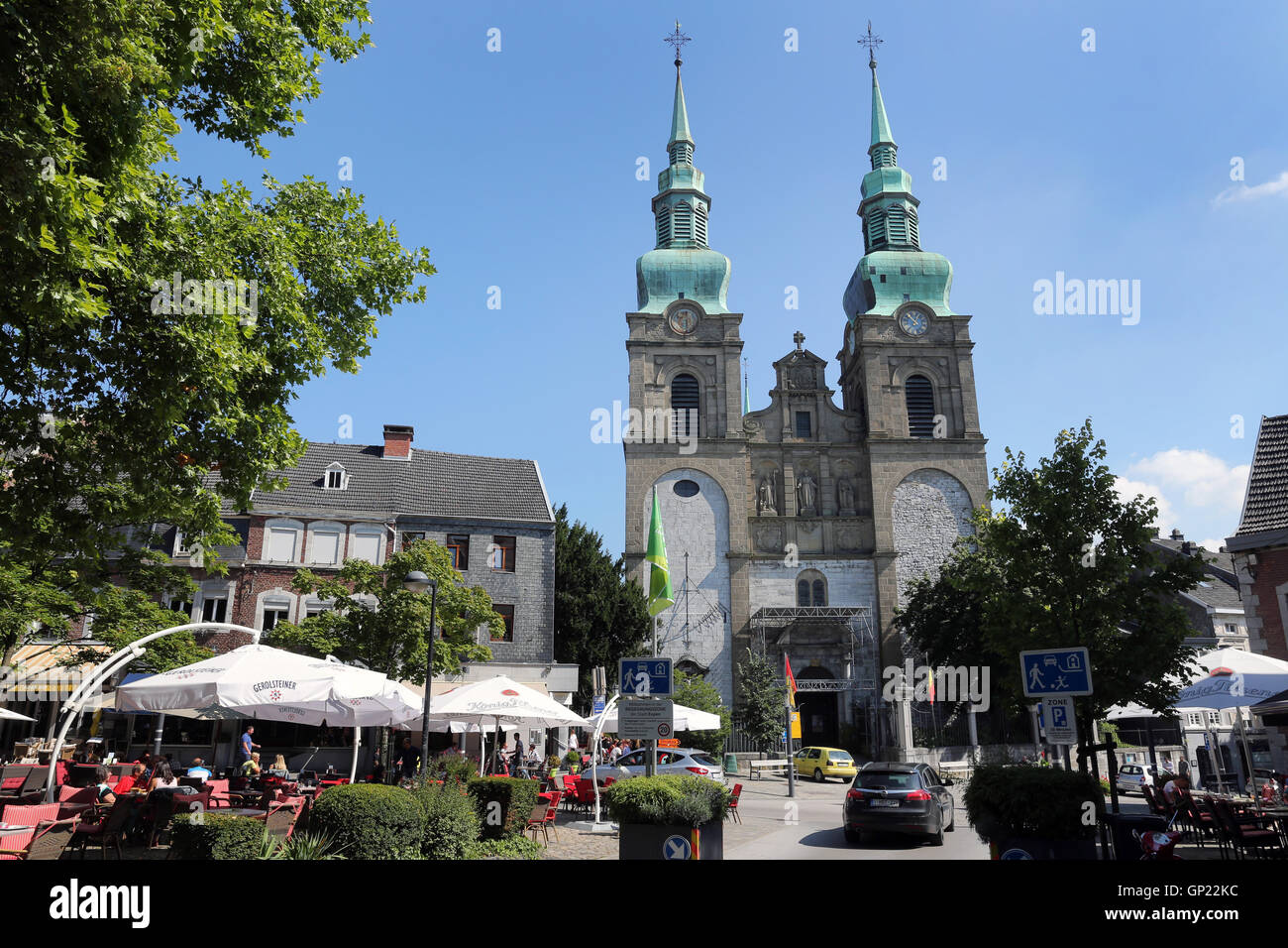 Old Town of Eupen/Belgium with Catholic St. Nicholas Church at market square. Capital of the German-speaking Community Stock Photo