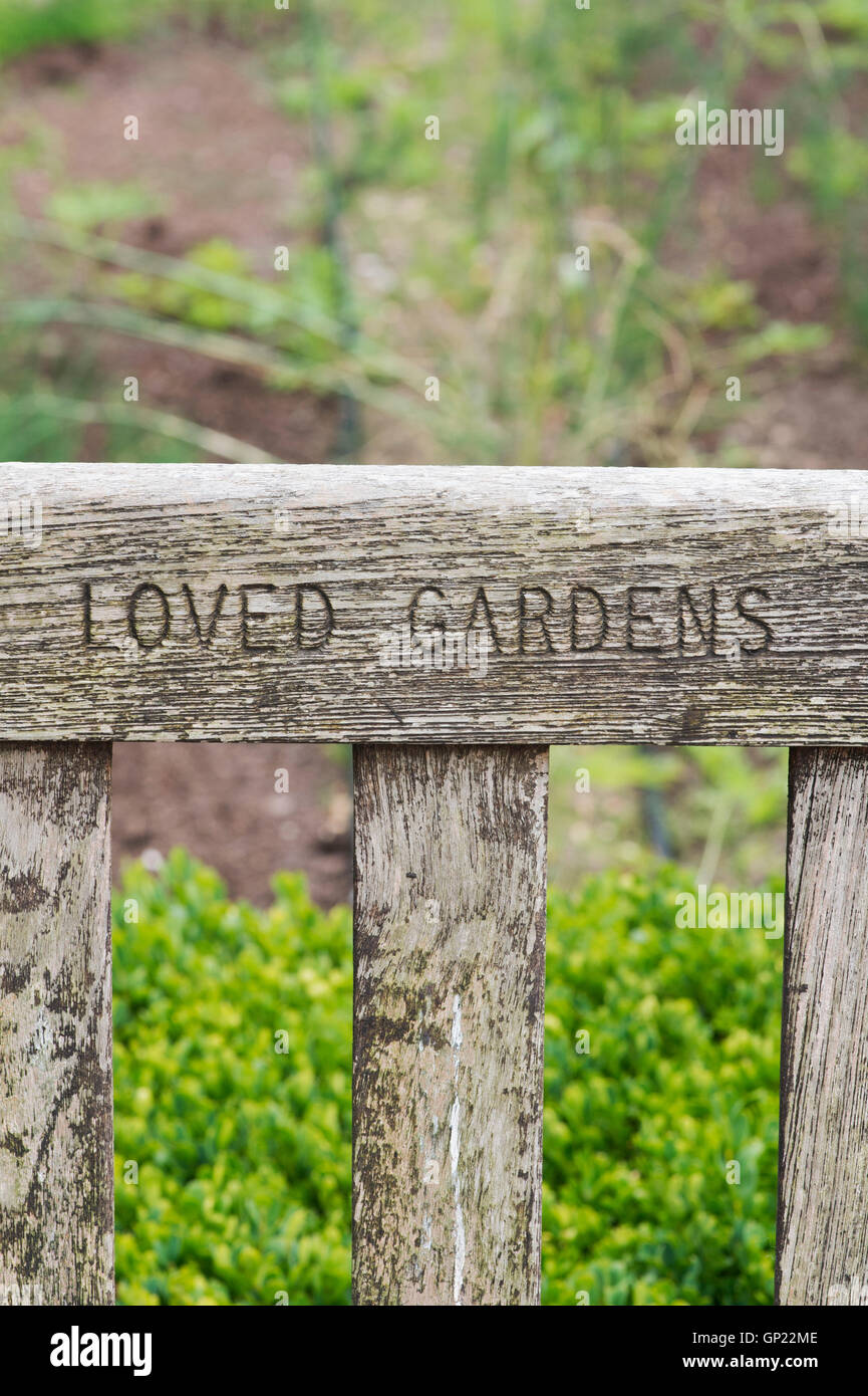Magnificent Wooden Garden Bench With The Carved Words Loved Gardens Creativecarmelina Interior Chair Design Creativecarmelinacom