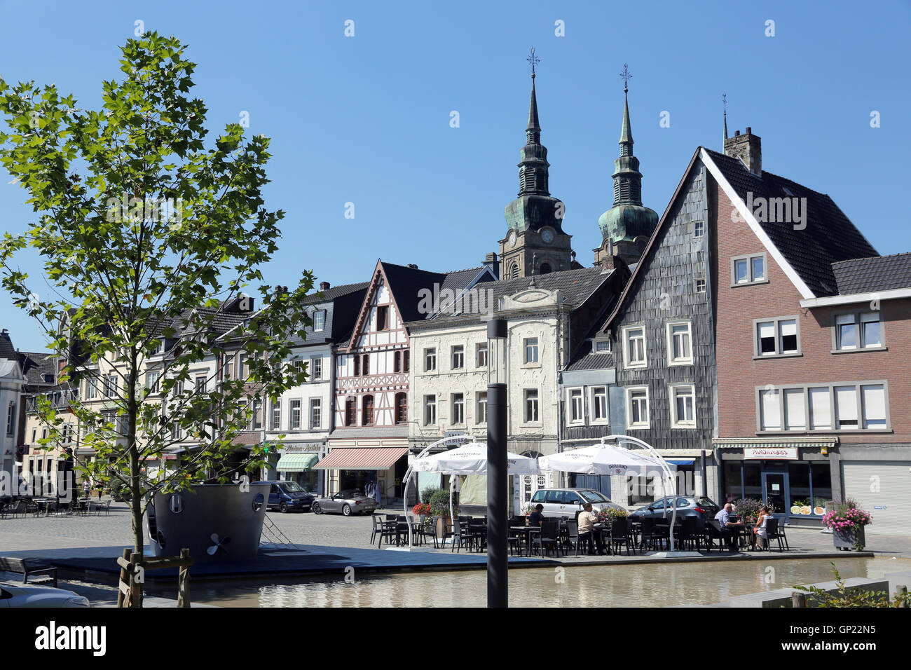Old Town of Eupen/Belgium with Catholic St. Nicholas Church. Capital of the German-speaking Community in Belgium. Stock Photo