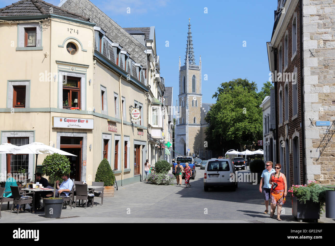 Old town of Eupen/Belgium with Protestant Peace-Church. Capital of the German-speaking Community in Belgium. Stock Photo