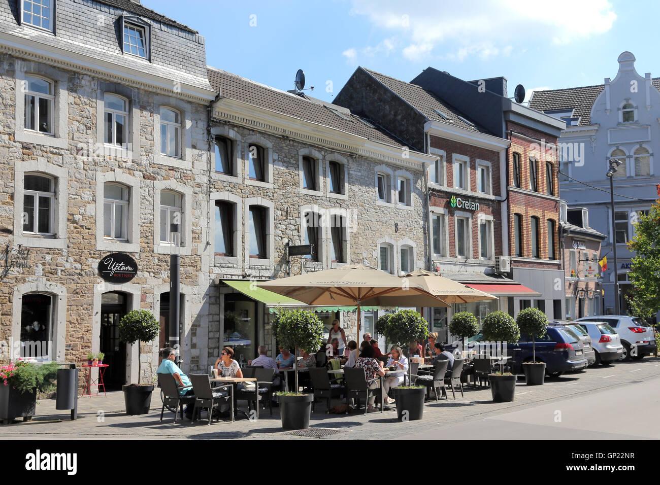 Town houses in the old town of Eupen, Belgium, Capital of the German-speaking Community in Belgium. Stock Photo