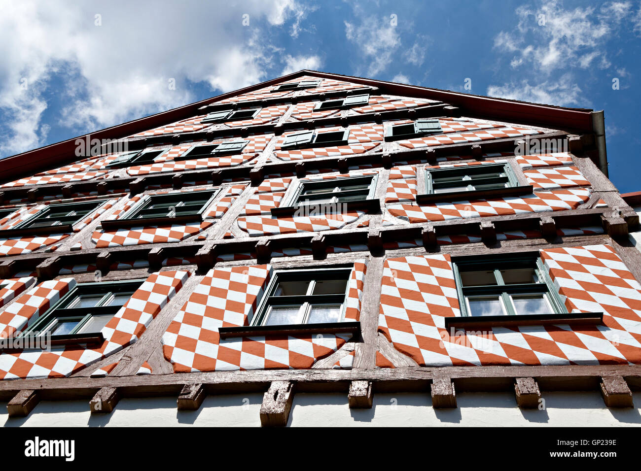 Gable, windows in Facade facing the Muensterplatz Square, Ulm, Baden-Wuerttemberg,  Germany, Europe - Stock Image