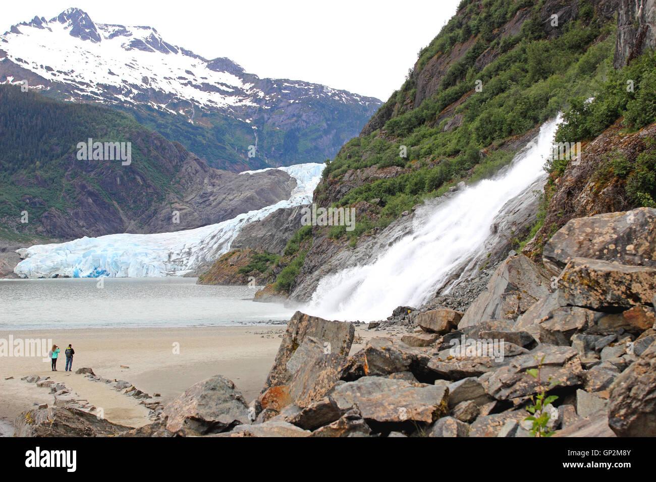 Mendenhall Glacier, Nugget Falls, Juneau, Southeast, Alaska - Stock Image