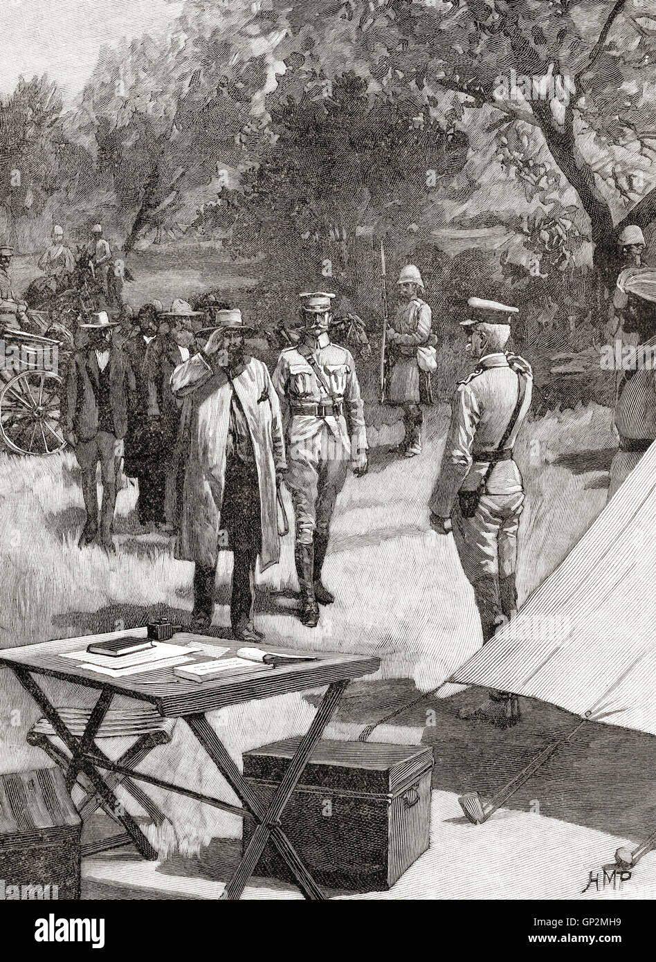 The surrender of General Cronje after the Battle of Paardeberg or Perdeberg, South Africa, 27 February 1900 during - Stock Image