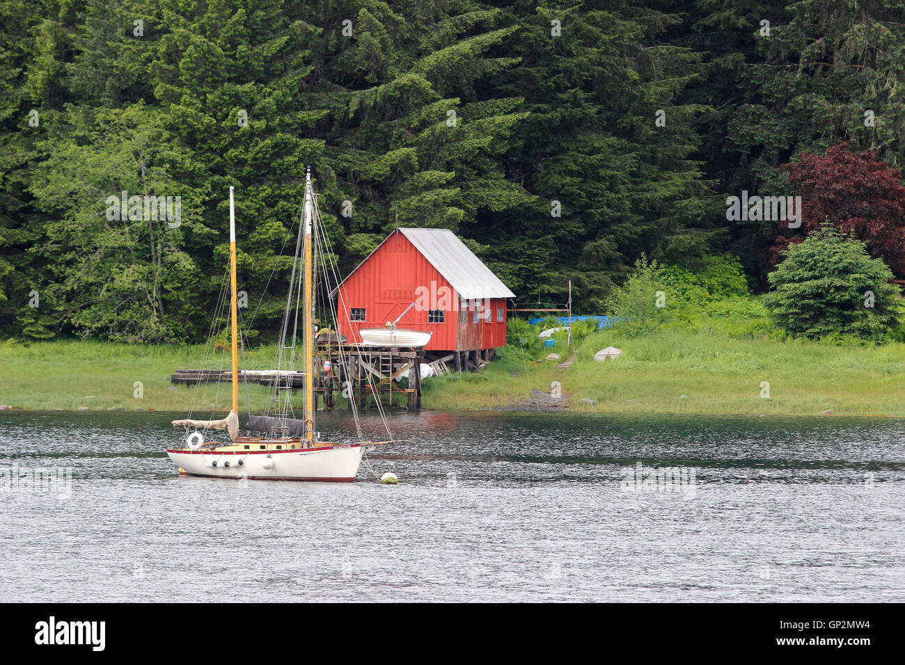 Sailboat ketch boathouse fishing camp near Petersburg 'Little Norway' fishing village Mitkof Island Inside - Stock Image