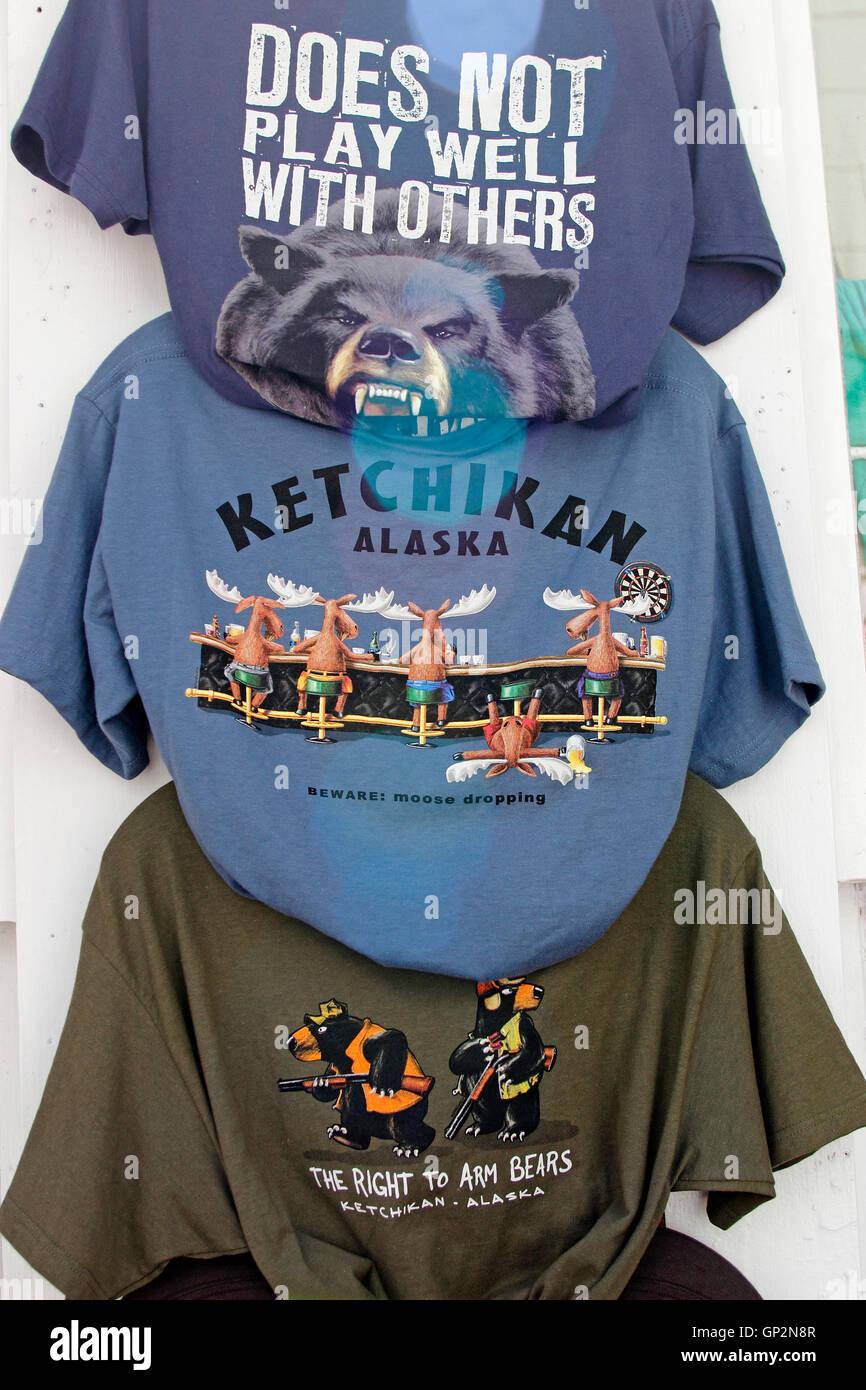 Souvenir Tee shirts Creek Street shops tourist attractions Ketchikan Tongass Narrows Inside Passage Southeast Alaska - Stock Image