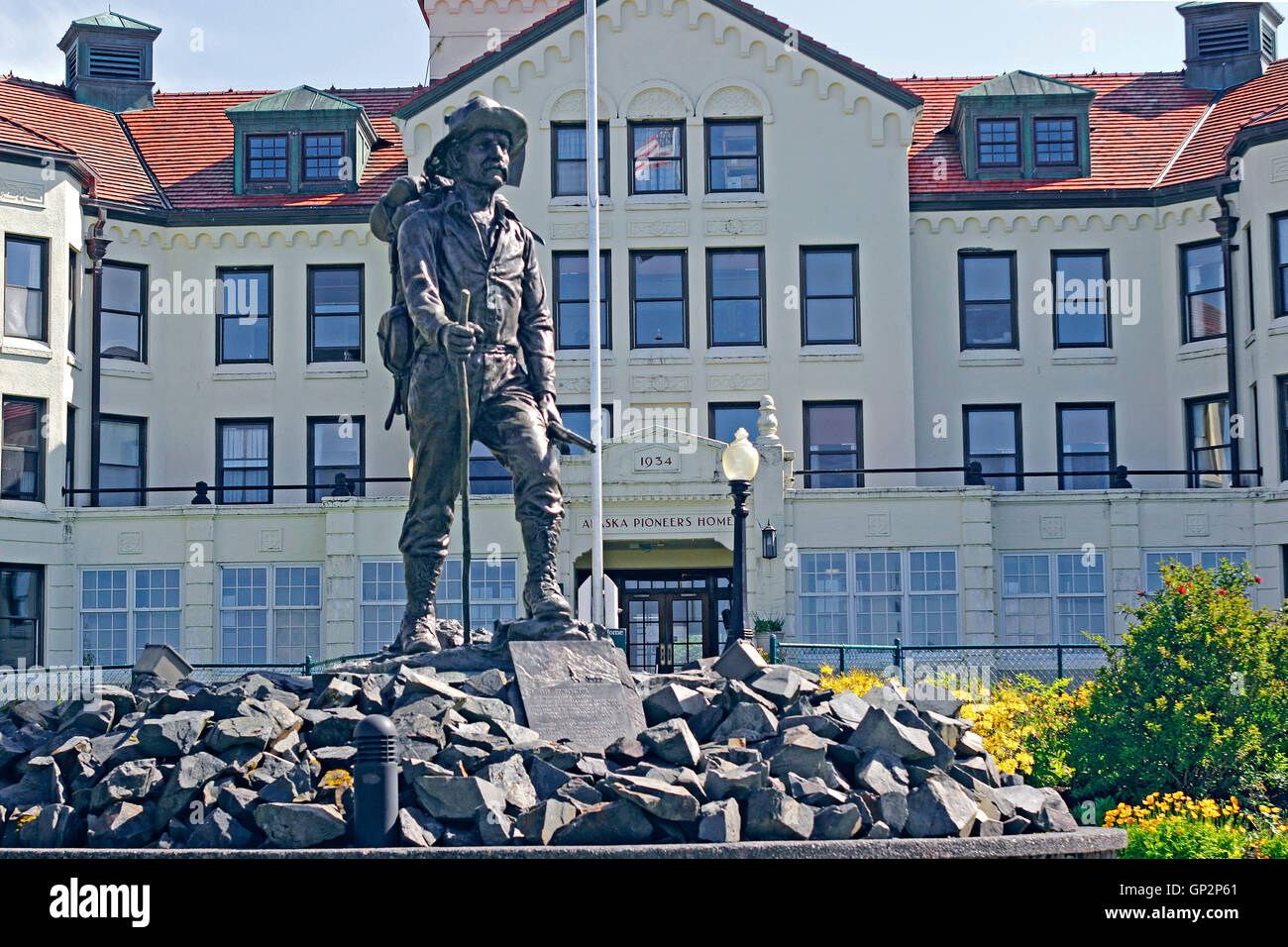 Statue 'The Prospector' Alaska Pioneers Home Sitka Alaska Inside Passage Southeast Alaska USA - Stock Image