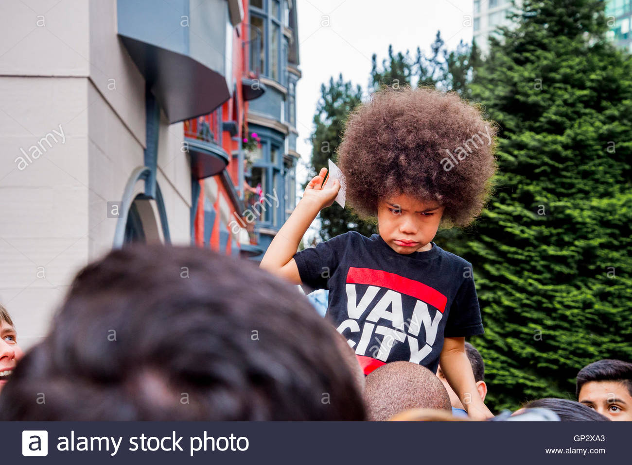 Young boy having a tantrum - Stock Image