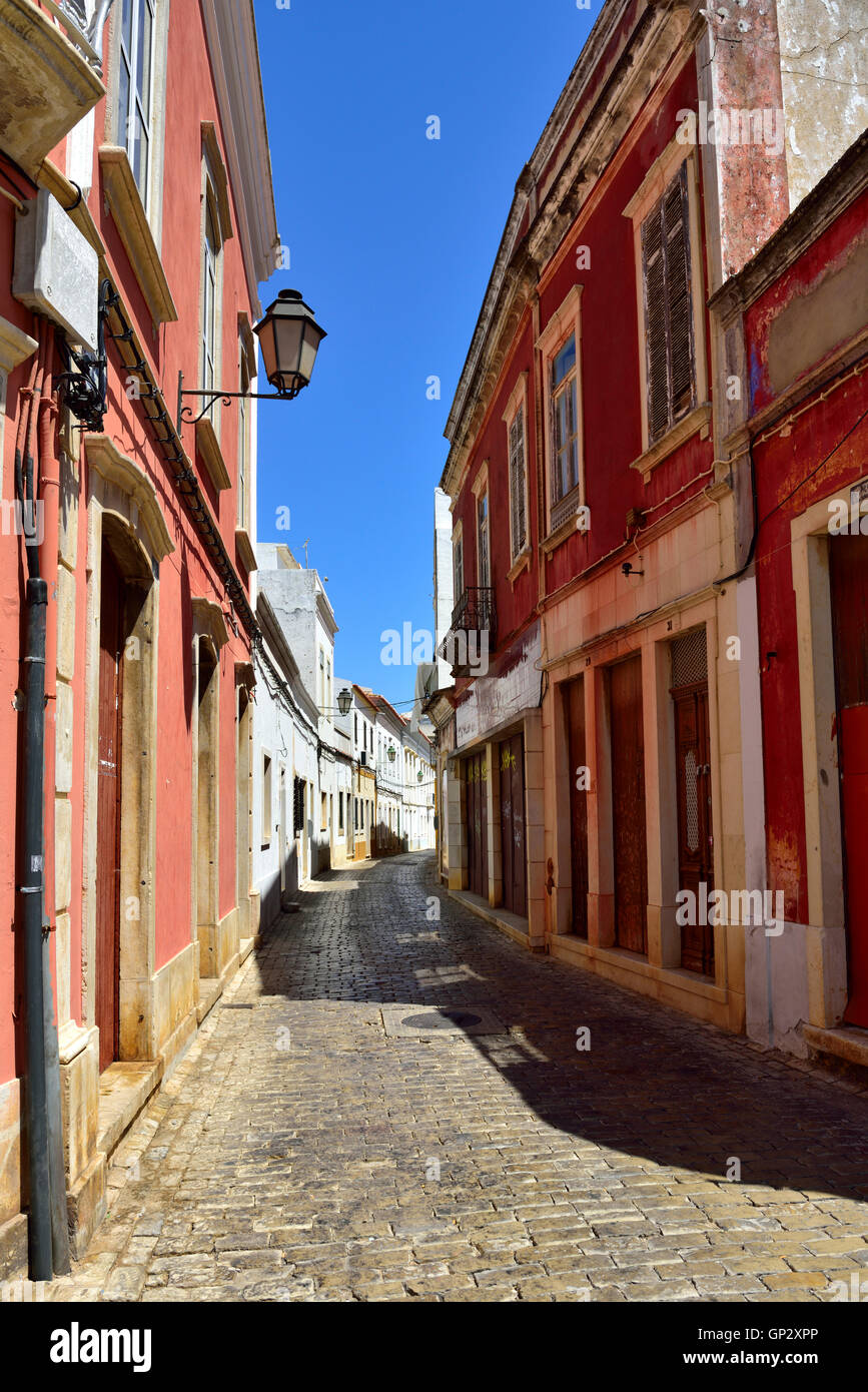 Narrow cobbled street inland town of Loulé, Algarve, south Portugal - Stock Image